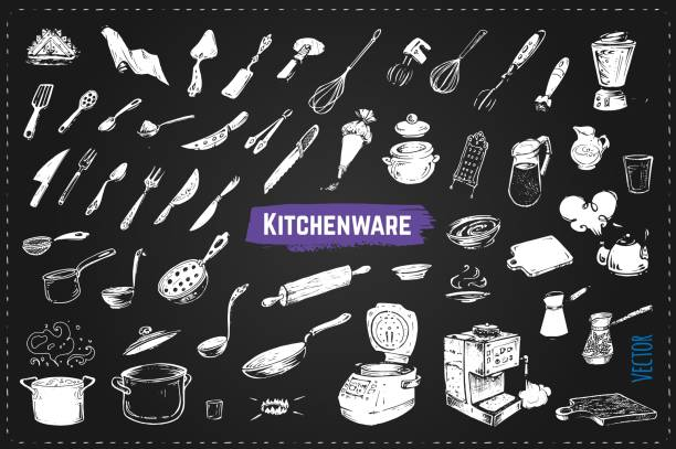 Hand drawn kitchen utencils. Set of kitchenware chalk drawing style vector icons on black background. Vintage doodles for design restaurant menus and decorating cookbooks and recipes Hand drawn kitchen utencils. Chalk vector icons kitchenware department stock illustrations