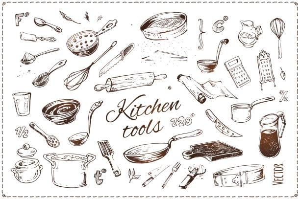 Hand drawn kitchenware vector icons set. Sketch of isolated kitchen tools and elements of cooking for menu design and recipe books. Vintage style illustration Hand drawn kitchen tools isolated vector icons set grater utensil stock illustrations