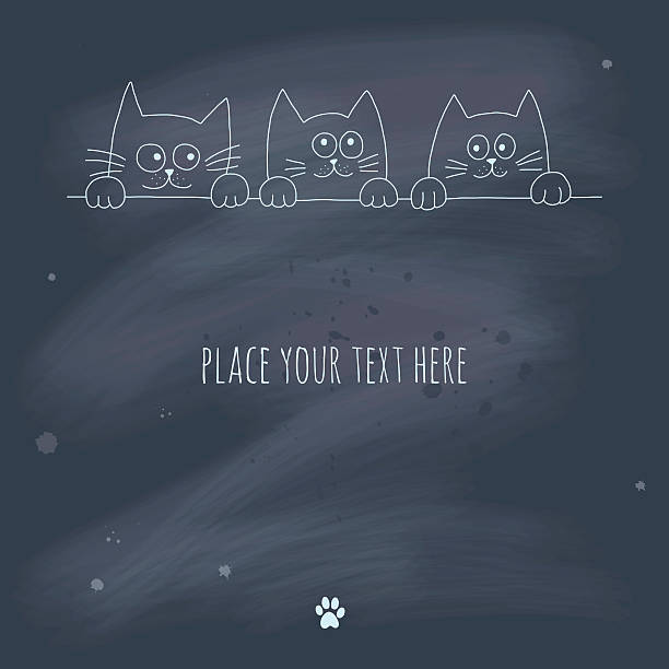 Hand drawn kittens on a blackboard vector art illustration