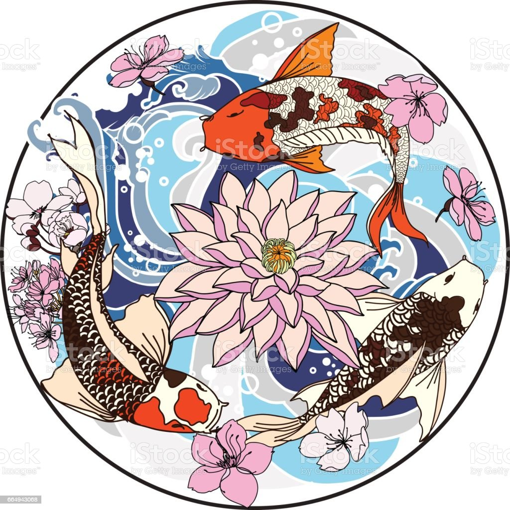 Hand Drawn Koi Fish In Circle Japanese Carp Line Drawing Coloring Book Vector Image Royalty