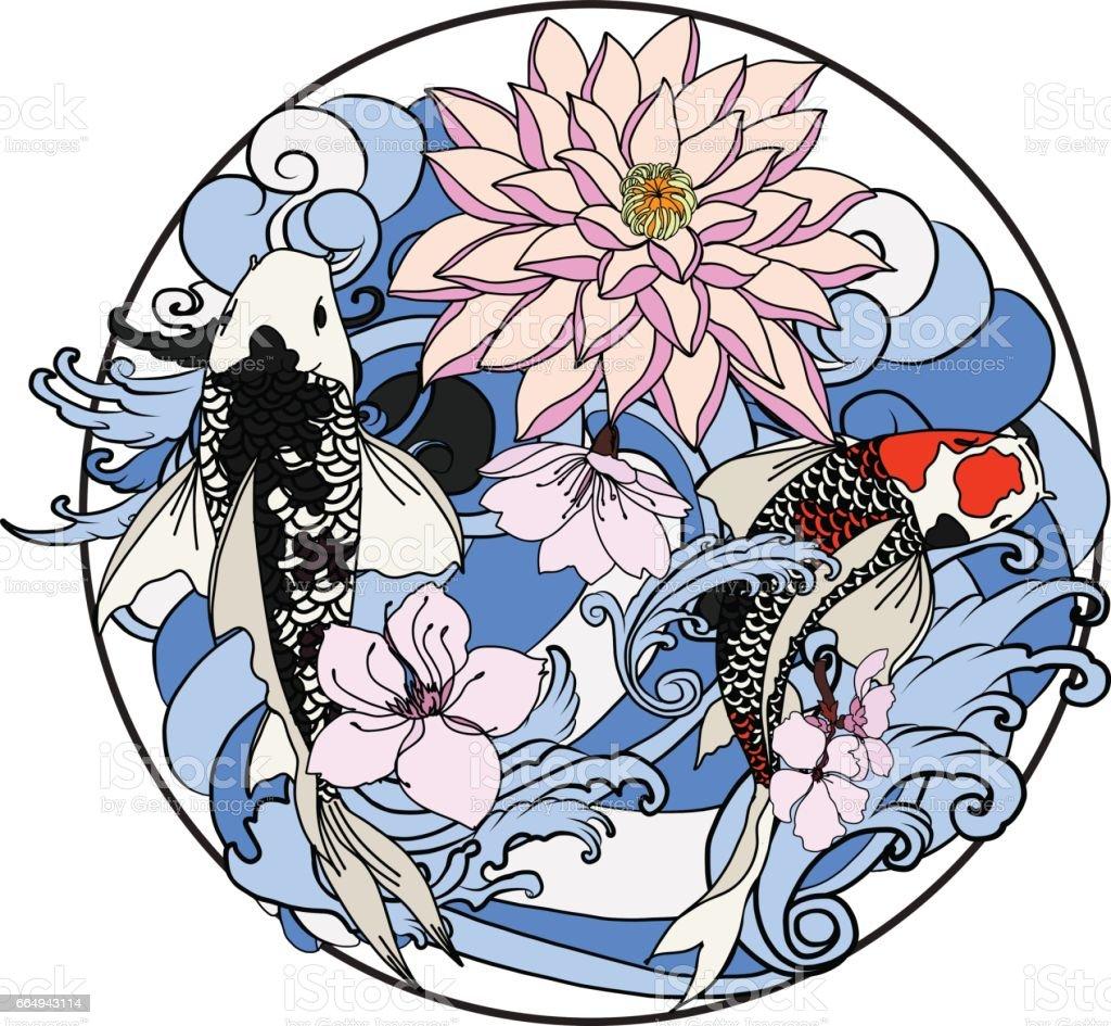 Hand Drawn Koi Fish In Circle Japanese Carp Line Drawing Coloring ...