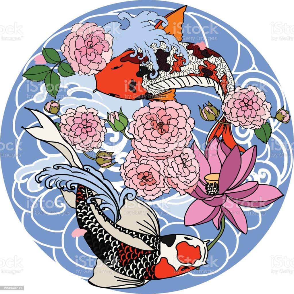 Dessin Carpe Japonaise koi dessiné à main poisson en cercle dessin au trait carpe japonaise