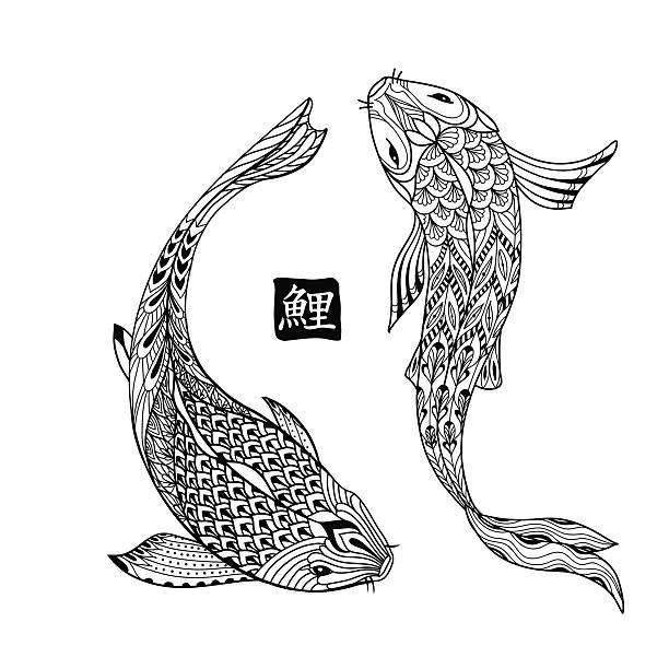 Dibujado a mano peces Koi. Carpa japonés línea para libro para colorear - ilustración de arte vectorial