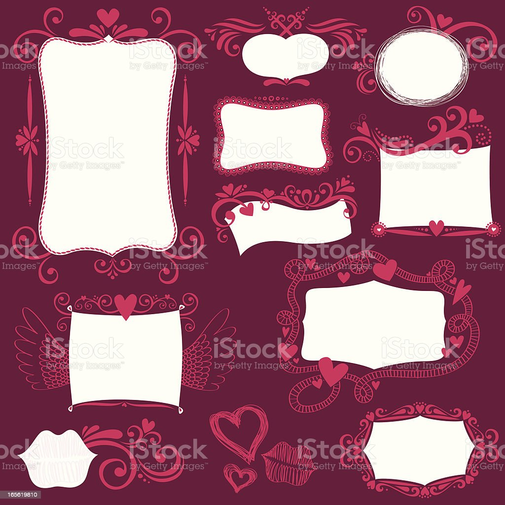 Hand drawn label collection vector art illustration