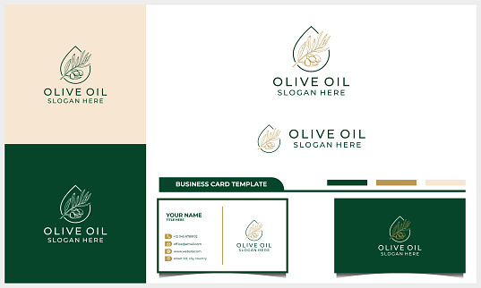 Hand drawn label of extra virgin olive oil logo design with business card template
