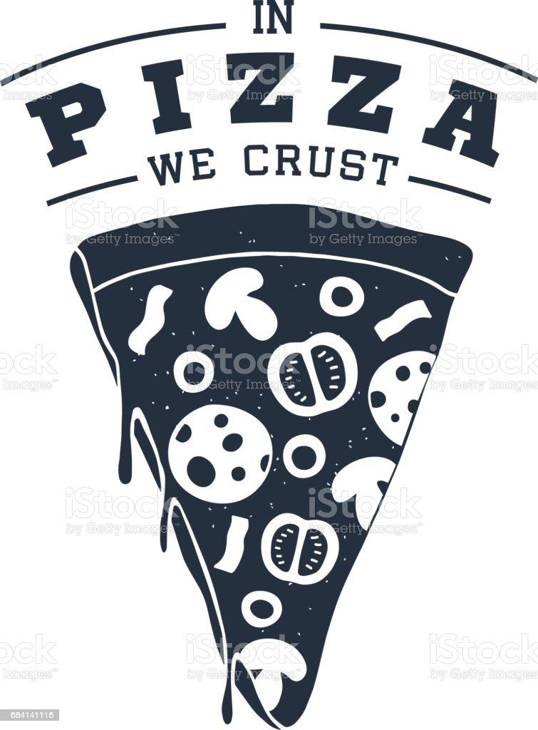 Hand getekend etiket met getextureerde pizza slice vectorillustratie royalty free hand getekend etiket met getextureerde pizza slice vectorillustratie stockvectorkunst en meer beelden van afhaal eten