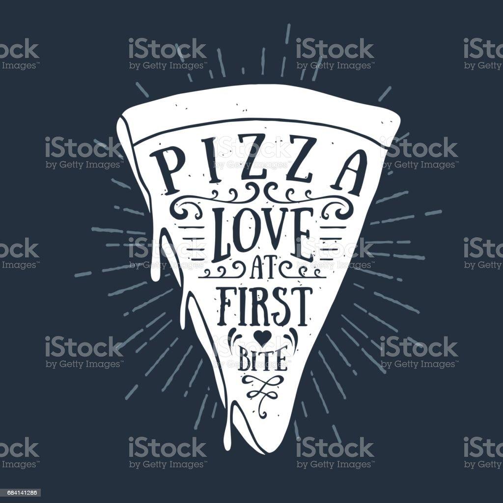 Tiré de main étiquette avec illustration vectorielle de texture pizza slice - Illustration vectorielle