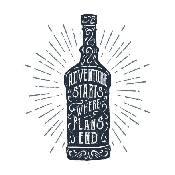 Hand drawn label with textured whiskey bottle vector illustration. vector art illustration