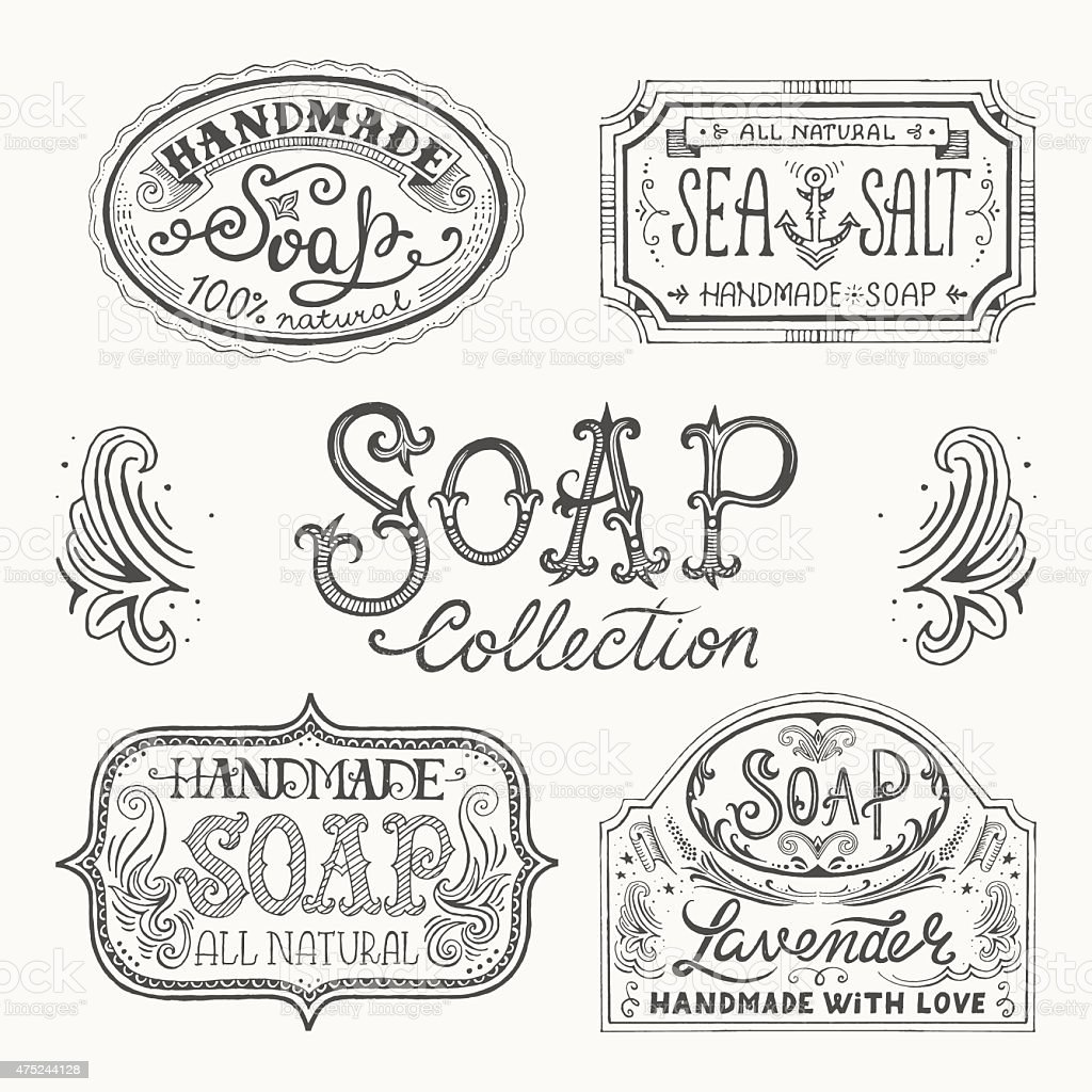 Hand drawn labels and patterns for handmade soap bars. vector art illustration