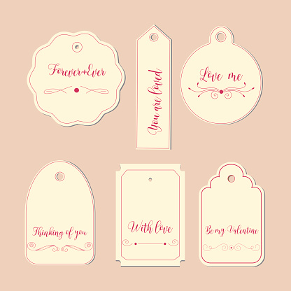 Hand drawn labels and tags. Elements collection for Valentine s Day.The main symbols of the holiday. Vector logo, emblems, text design. Usable for banners, greeting cards, gifts etc.