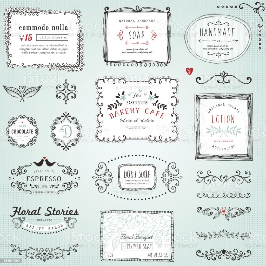 Hand Drawn Labels vector art illustration
