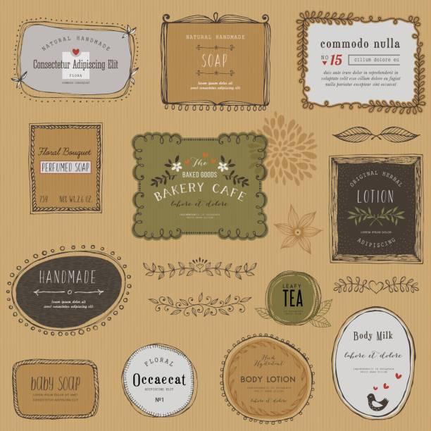 illustrazioni stock, clip art, cartoni animati e icone di tendenza di hand drawn labels - sfondo scarabocchi e fatti a mano
