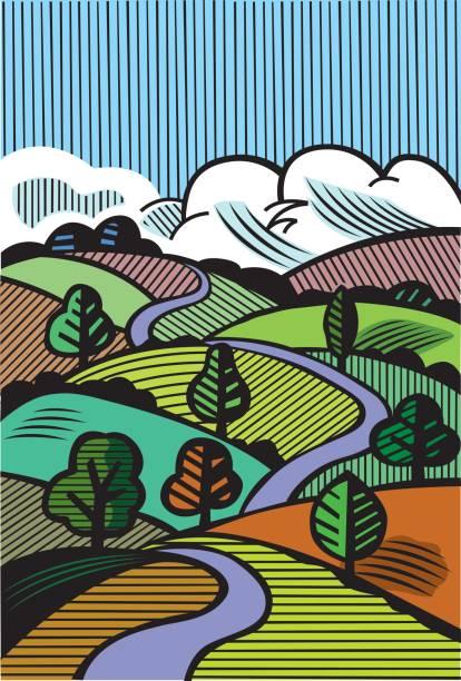 handgezeichnete landschaft abbildung - landstraße stock-grafiken, -clipart, -cartoons und -symbole