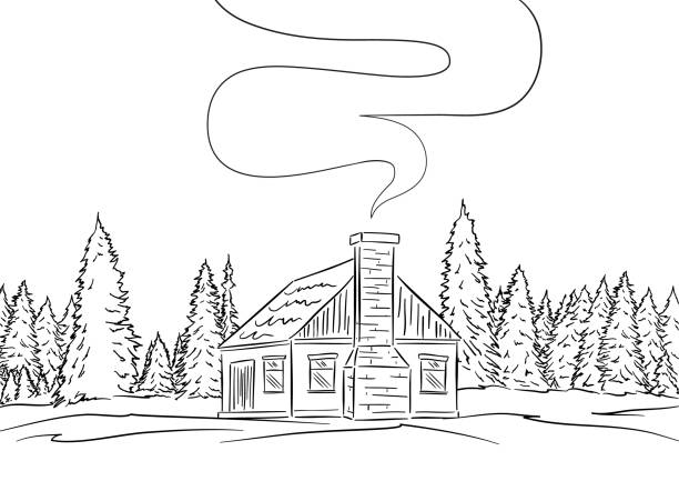 hand drawn landscape with house and pine forest. sketch line design - log cabin stock illustrations, clip art, cartoons, & icons