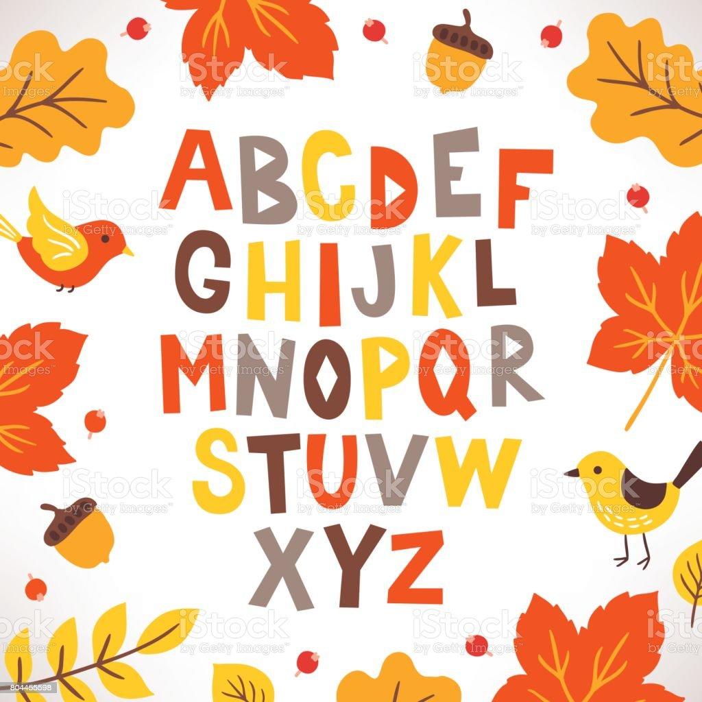 手の鳥、オークの葉、どんぐり、ベリーと描かれたラテン系のアルファベット ベクターアートイラスト