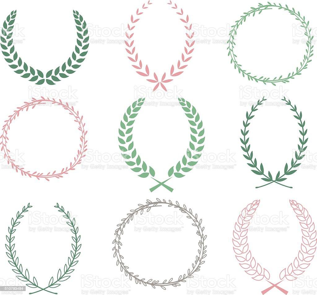 Hand Drawn Laurel Wreaths Collections vector art illustration