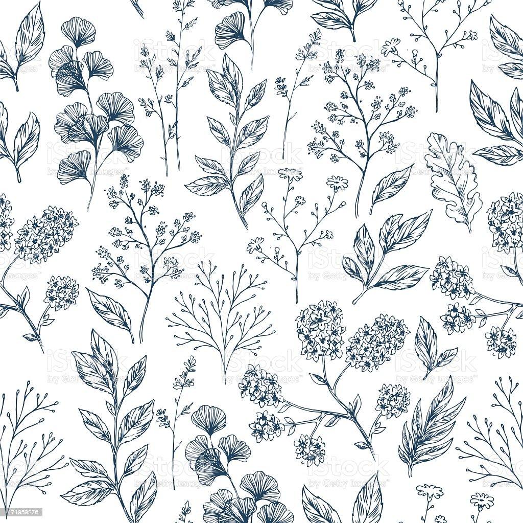 Uncategorized Drawn Leaf hand drawn leaf and flower seamless pattern vector illustration royalty free stock art
