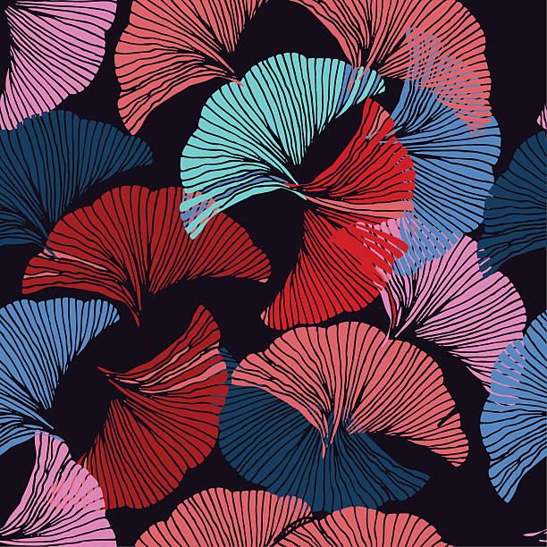 Hand drawn leaf of Ginkgo Biloba.pattern Vector colorful seamless pattern. Hand drawn leaf of Ginkgo Biloba. Botanical theme ginkgo stock illustrations