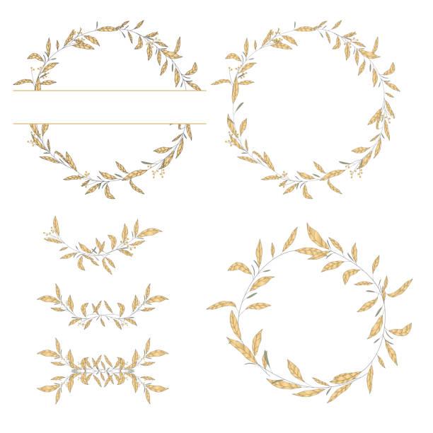 bildbanksillustrationer, clip art samt tecknat material och ikoner med handritade blad skiss mönster design i guld - summer sweden