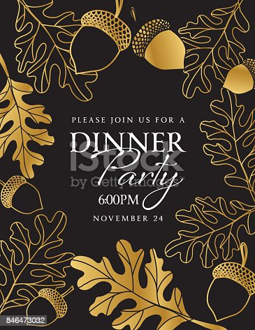 istock Hand Drawn Leaves Background In Black and Gold 846473032