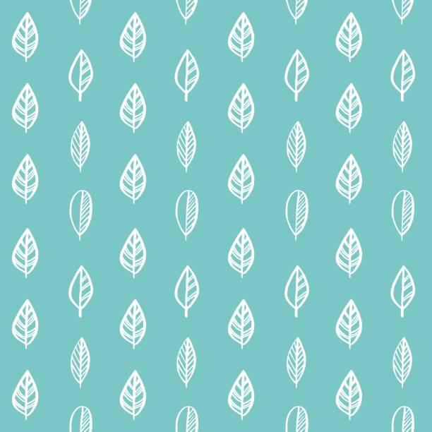 手繪葉斯堪的納維亞綠松石無縫模式為織物列印的包裝紙。 - 葉狀花紋 幅插畫檔、美工圖案、卡通及圖標