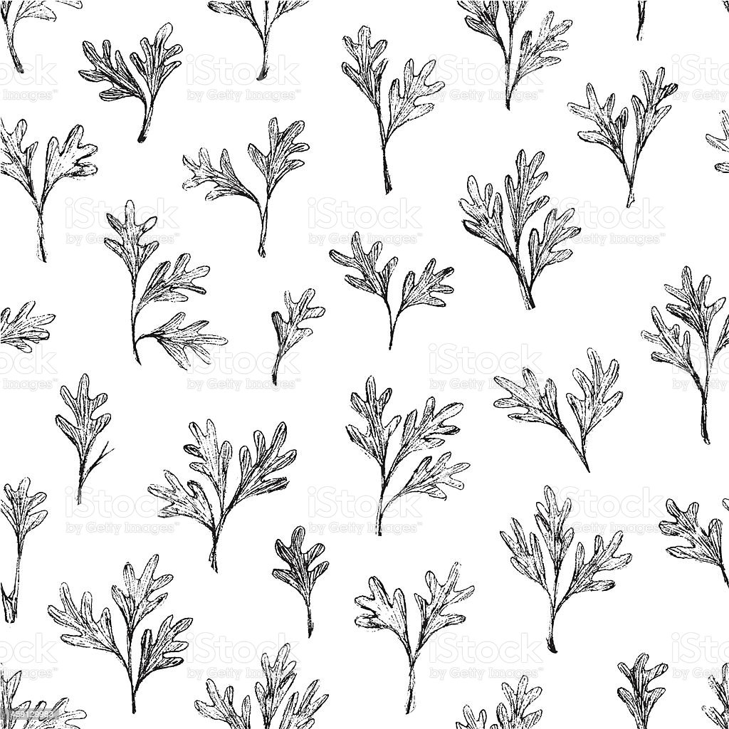 Hand drawn leaves seamless pattern vector art illustration