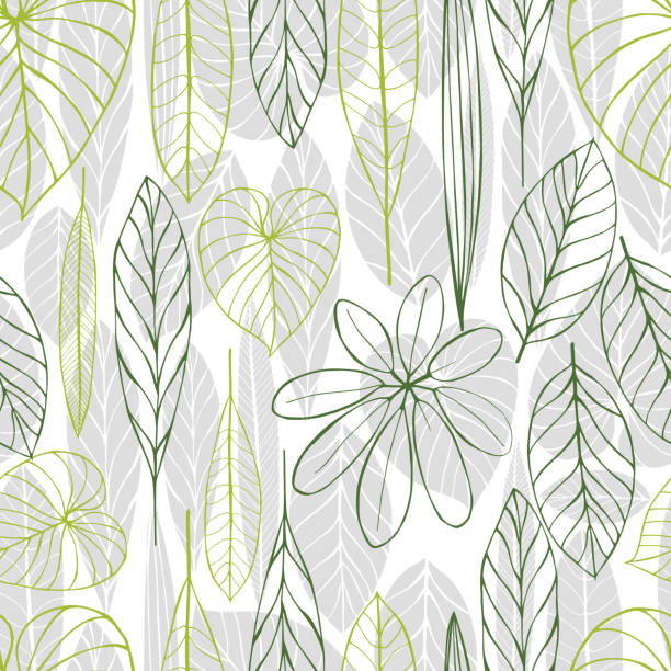 Hand drawn  leaves. Vector  pattern Hand drawn  leaves. Vector seamless pattern idyllic stock illustrations