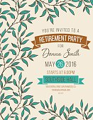 Hand Drawn Leaves Frame Party Invitation Template