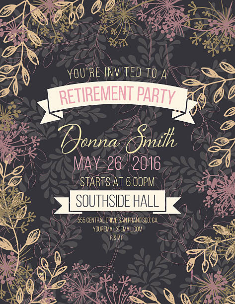 Royalty free retirement party clip art vector images hand drawn leaves vines frame invitation template vector art illustration stopboris Gallery