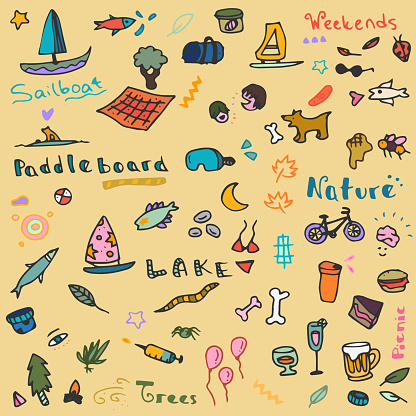 Hand drawn Leisure Activity, Summer, Nature, Lake Doodles with hand drawn lettering - Funny Nature Objects Background Pattern