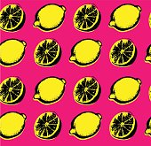 Vector hand drawn lemon seamless pattern. Sketch. Pop art. Perfect for wall art, kitchen art, print, posters. Hand sketched fruits illustration collecton. Vector design.Vector hand drawn lemon seamless pattern. Sketch. Pop art. Perfect for wall art, kitchen art, print, posters. Hand sketched fruits illustration collecton. Vector design.