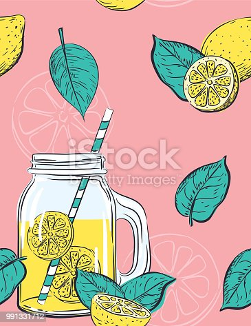 Seamless pattern of lemons. Cute summer lemonade theme.Hand drawn elements in simple flat colors.