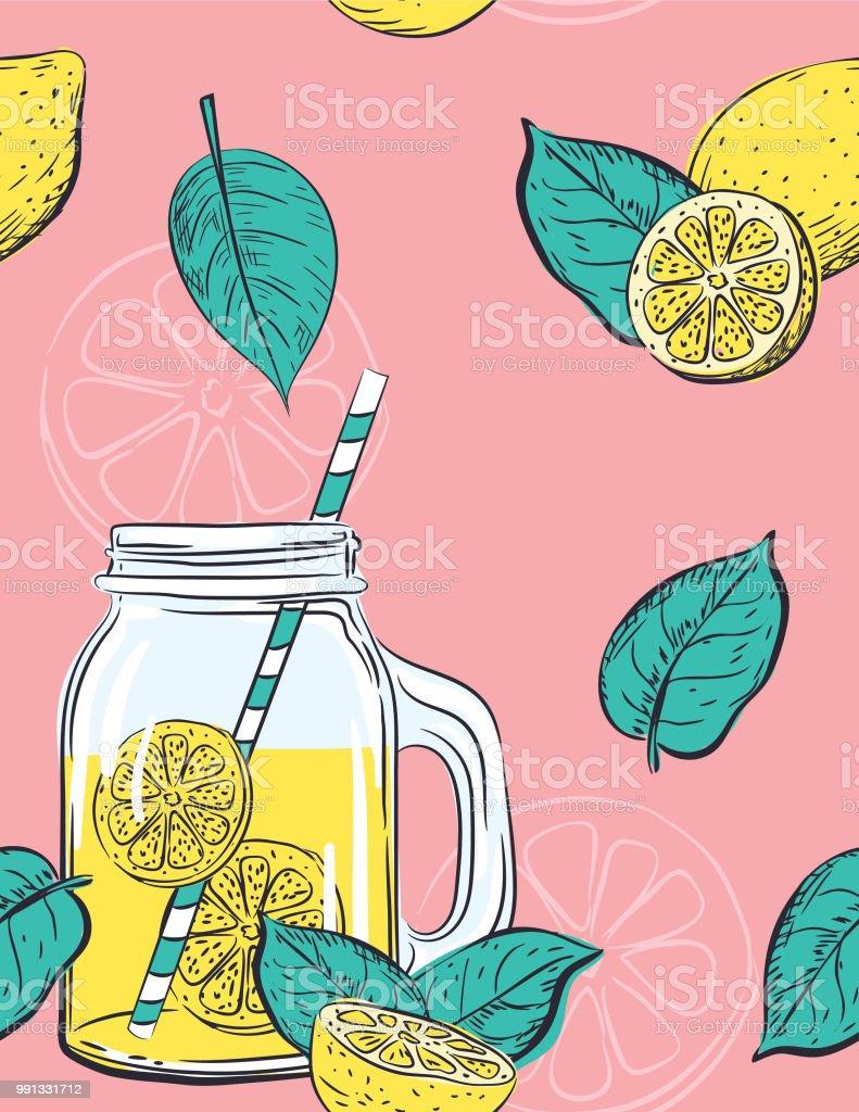 Hand gezeichnet Zitronen Muster – Vektorgrafik
