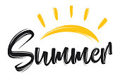 Vector illustration of Hand drawn lettering composition of summer with a sun