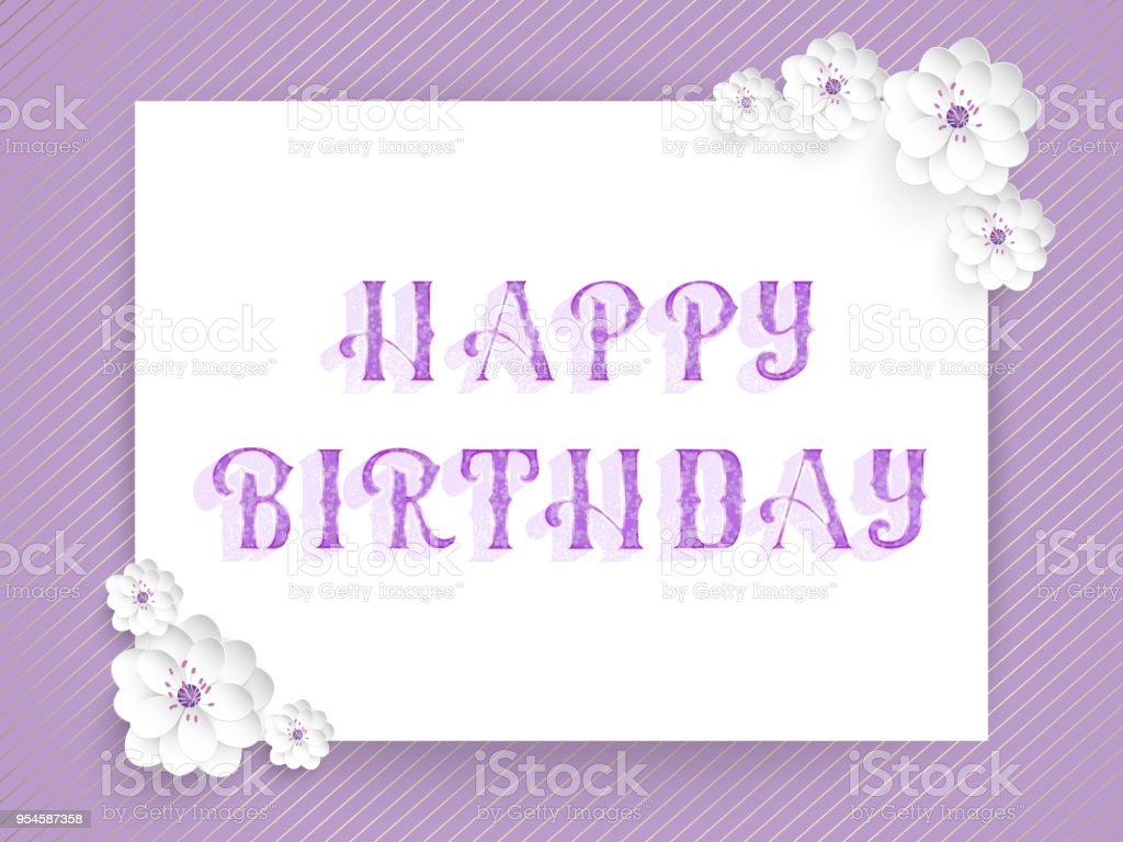 Hand drawn lettering - Happy birthday. Elegant modern handwritten calligraphy. Vector Ink illustration. With flowers amd floral ornaments. For cards, invitations, prints etc.