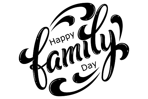 Hand drawn lettering Happy Family Day. Vector Ink illustration. Black typography on white background. Family design template for gift cards, invitations, prints etc. clipart
