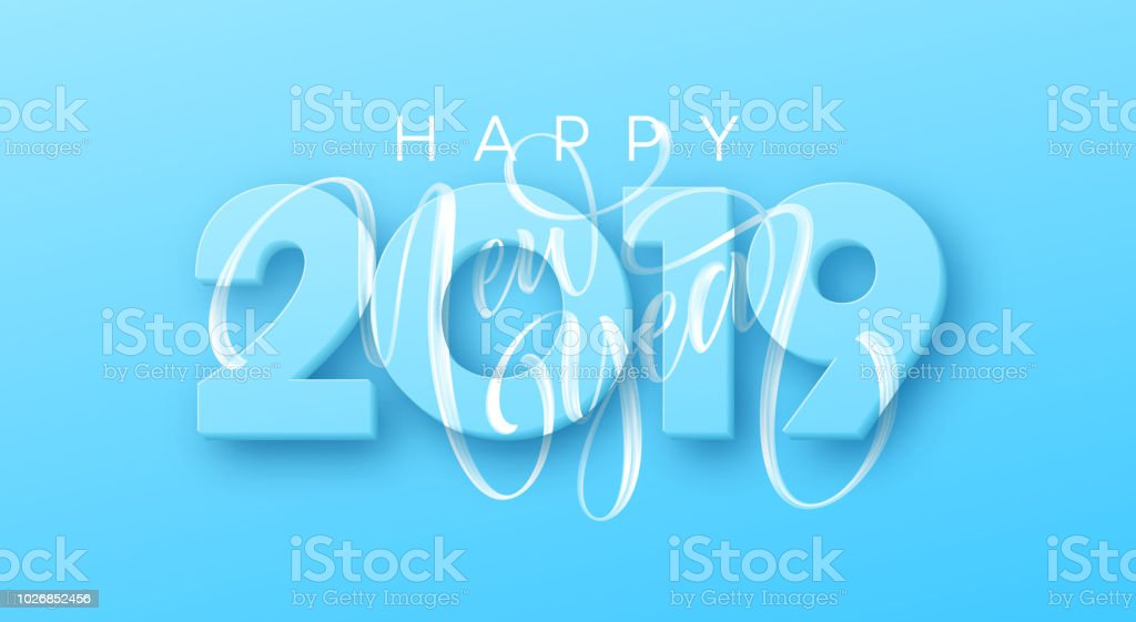 hand drawn lettering happy new year 2019 on blue background vector illustration royalty free