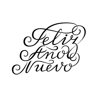 Hand drawn lettering. Happy new year in spanish. Feliz año nuevo. Black ink calligraphy on white background. Used for greeting card, poster design.