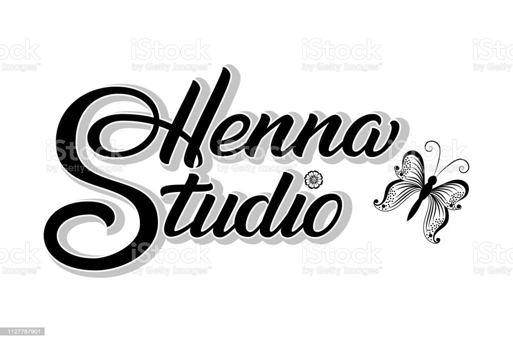 2e596ea82 Hand drawn lettering Henna Studio with shadow. Vector Ink illustration.  Template for tattoo or mehndi studio. Elegant lettering with butterfly.