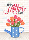 Hand drawn lettering Mothers Day. Spring banner. Origami flower frame. Vector Illustration EPS10