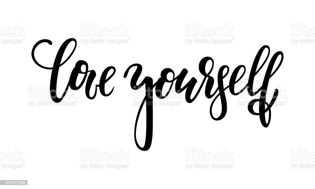 Vetores De Mão Desenhada Letras De Amor Uma Frase Você Mesmo