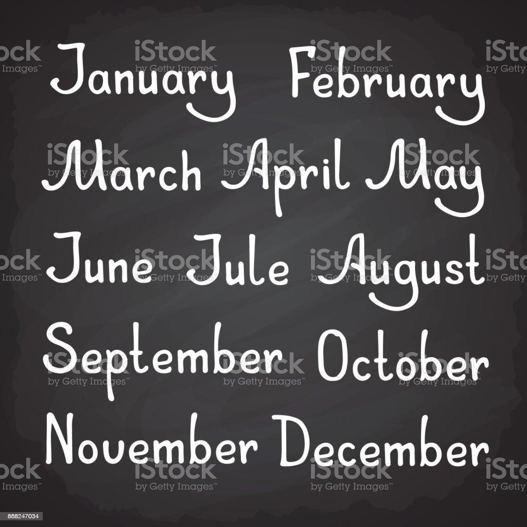 Hand drawn lettering of calendar months vector art illustration