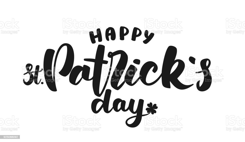 Handgezeichnete Schriftzug Happy St Patricks Day Auf Weißem ...