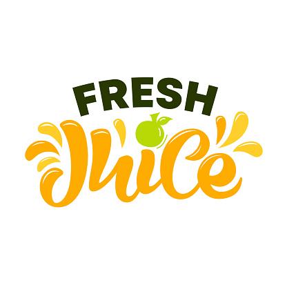 Hand drawn lettering of logo Fresh juice