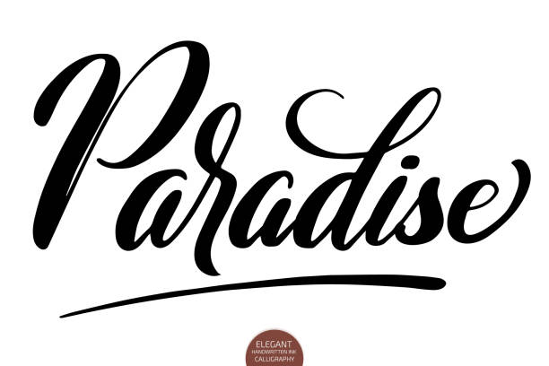 Hand drawn lettering Paradise. Elegant isolated modern handwritten calligraphy. Vector Ink illustration. Typography poster on white background. For cards, invitations, prints etc. Hand drawn lettering Paradise. Elegant isolated modern handwritten calligraphy. Vector Ink illustration. Typography poster on white background. For cards, invitations, prints etc idyllic stock illustrations