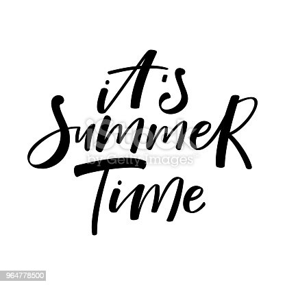 Hand Drawn Lettering Phrase Its Summer Time Black And White Stock Vector Art & More Images of Art And Craft 964778500
