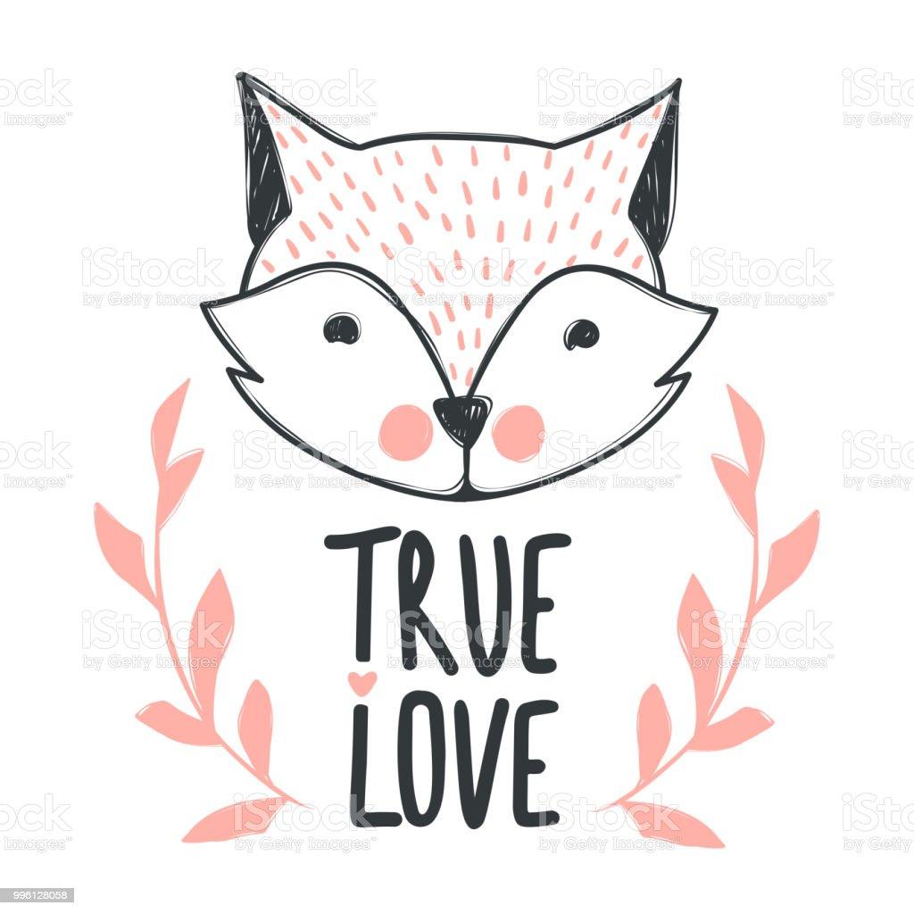 Ilustración De Letras Amor Verdadero Frase Y Fox Lindo
