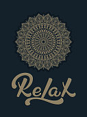 Hand drawn lettering Relax with a roud mandala ornament. Elegant modern handwritten calligraphy. Vector Ink illustration. Typography poster. For cards, invitations, print