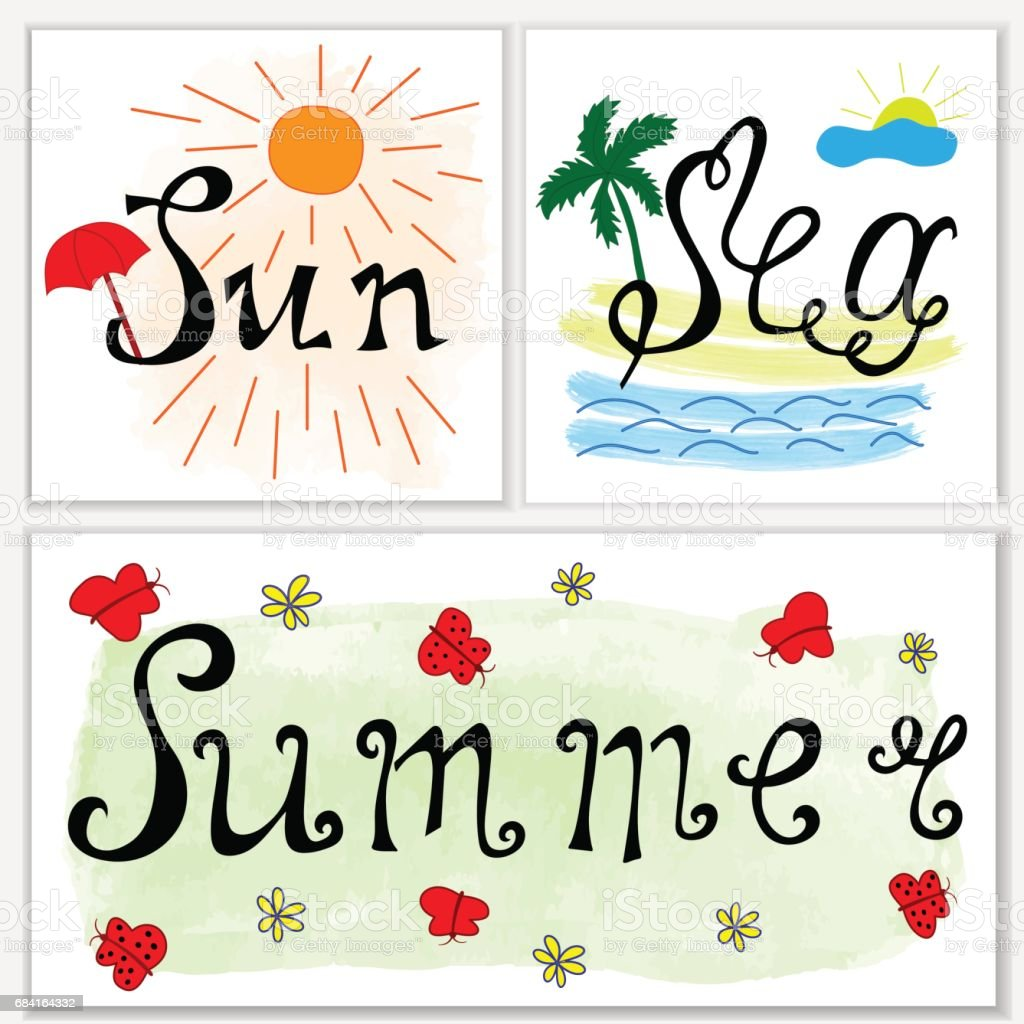 Hand drawn lettering: sea, sun, summer. Set of cards on white backgrround. Design for summer banner or poster royalty-free hand drawn lettering sea sun summer set of cards on white backgrround design for summer banner or poster stock vector art & more images of art