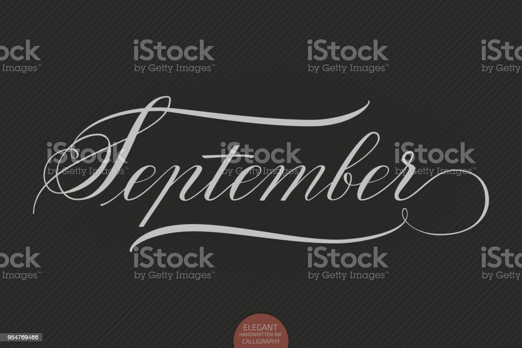 手は、9 月のレタリングを描かれました。エレガントなモダンな手書き書道。ベクトル インク イラスト。暗い背景にタイポグラフィ ポスター。カード、招待状などが印刷されます。 ベクターアートイラスト